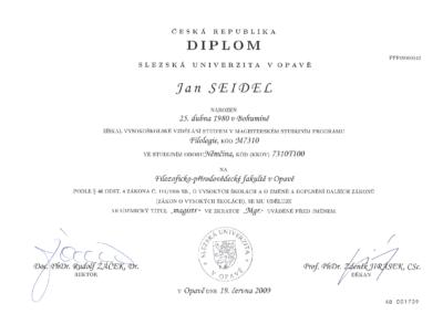 Studium odborná němčina - Jan Seidel